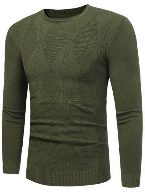 women Rhombus Pattern Crew Neck Sweater - ARMY GREEN 2XL Mobile