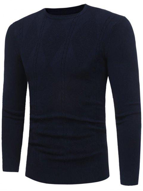 shop Rhombus Pattern Crew Neck Sweater - PURPLISH BLUE XL Mobile