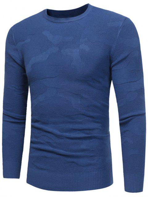 latest Crew Neck Irregular Pattern Sweater - ROYAL M Mobile