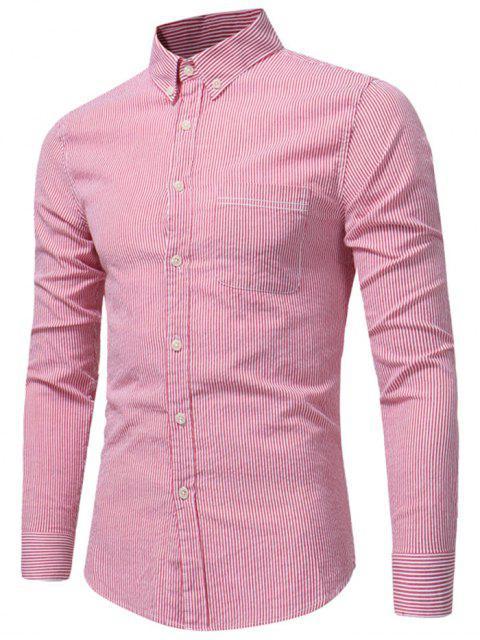 Knopf-unten Brust-Taschen-Streifen-Hemd - Wassermelone-Rot 2XL Mobile