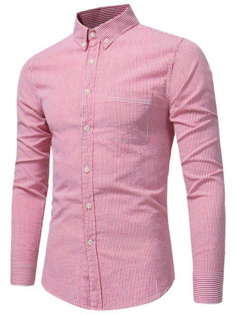 new Button Down Chest Pocket Stripe Shirt - WATERMELON RED XL Mobile