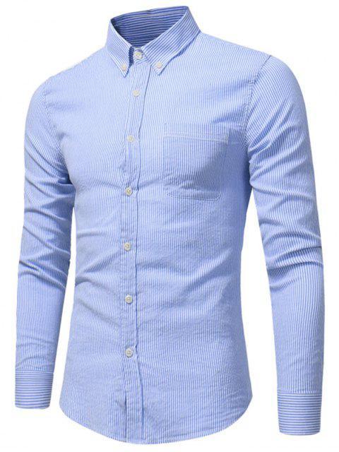 Knopf-unten Brust-Taschen-Streifen-Hemd - Blau M Mobile