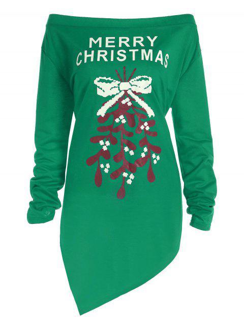 T-shirt Asymétrique Épaules Dénudées Imprimé Merry Christmas Grande Taille - Vert 5XL Mobile