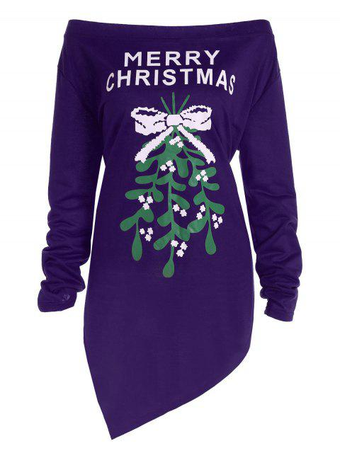 sale Plus Size Off The Shoulder Asymmetric Christmas T-Shirt - PURPLE 5XL Mobile