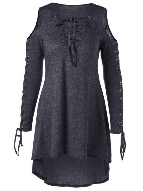 Robe de Grande Taille à Epaule Dénudée à Lacets - La fleur de cendres foncées   4XL Mobile