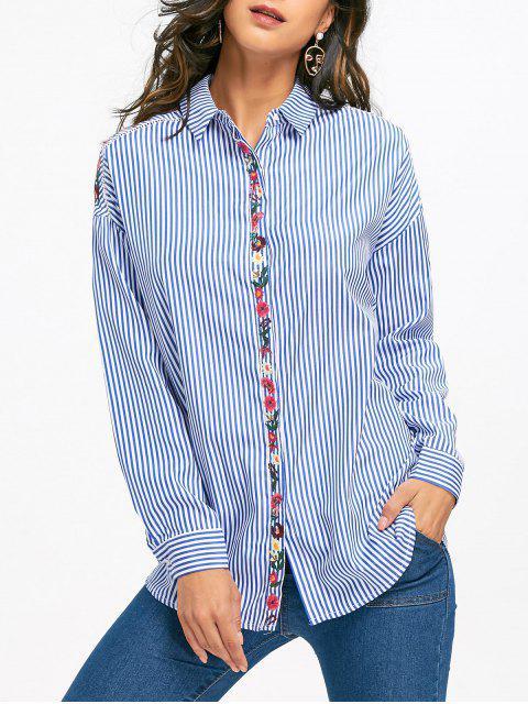 unique Floral Embroidered Drop Shoulder Striped Shirt - LIGHT BLUE S Mobile