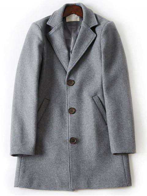 womens Turndown Collar Single Breasted Longline Woolen Coat - LIGHT GRAY 3XL Mobile