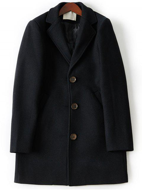 Manteau en Laine Long à Boutonnage Simple à Col Tailleur - Noir 2XL Mobile