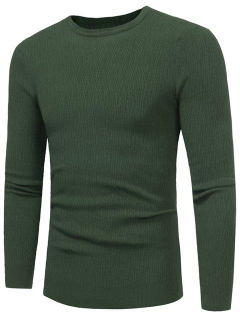 shop Crew Neck High Stretchy Sweater - GREEN 2XL Mobile