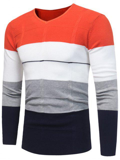 V-Ausschnitt Color Block Jumper - Roter Zirkon 3XL Mobile