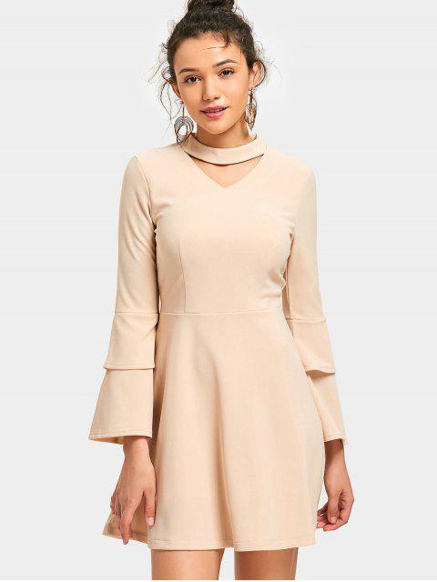 outfits Tiered Flare Sleeve Mini Keyhole Dress - APRICOT XL Mobile