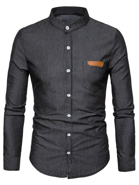 lady PU Leather Edging Chambray Shirt Men Clothes - BLACK L Mobile