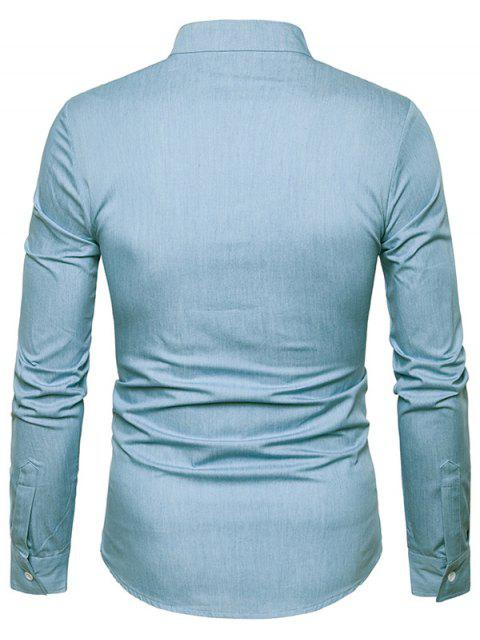 online PU Leather Edging Chambray Shirt Men Clothes - LIGHT BLUE 2XL Mobile