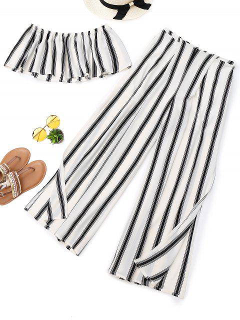 ladies Stripes Tube Top and High Slit Wide Leg Pants - STRIPE M Mobile