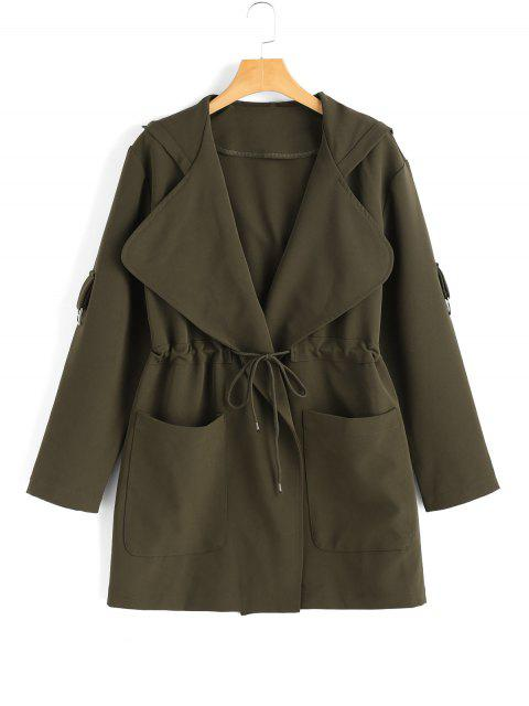 sale Hooded Belted Coat with Pockets - ARMY GREEN L Mobile