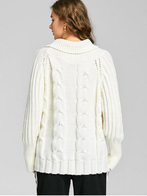 unique Cable Knitted Turtleneck Chunky Sweater - WHITE ONE SIZE Mobile