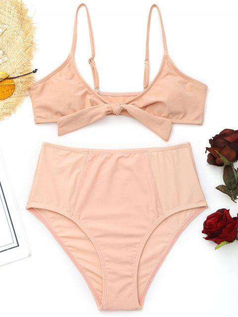 best Cami Front Tied High Waisted Bikini - SHALLOW PINK S Mobile