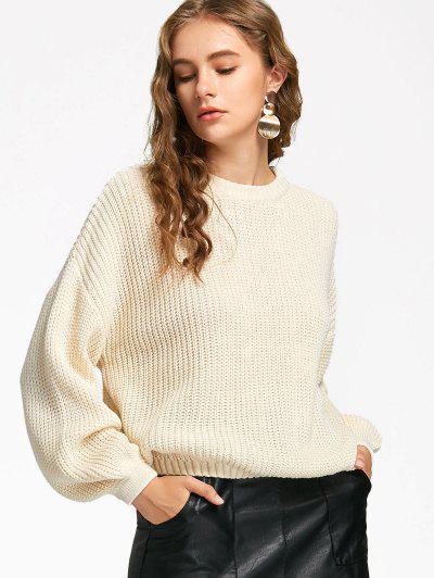 Oversized Lantern Sleeve Sweater - Off-white