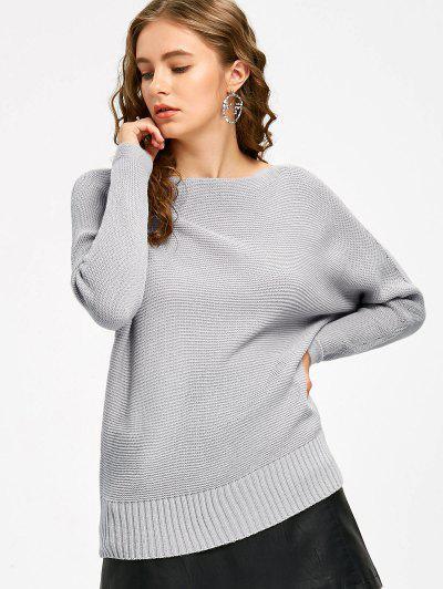 Slash Neck Batwing Sleeve Sweater - Gray