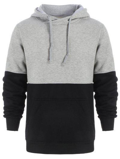 Drawstring Color Block Pullover Hoodie Men Clothes - Black And Grey Xl