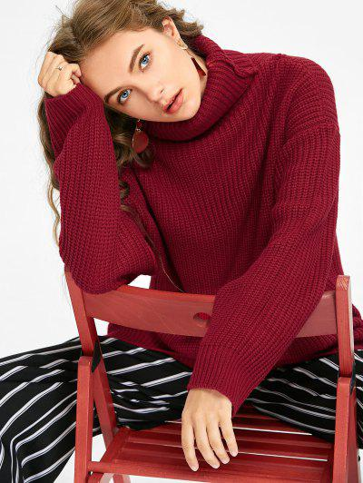 Oversized Turtleneck Chunky Sweater - Deep Red