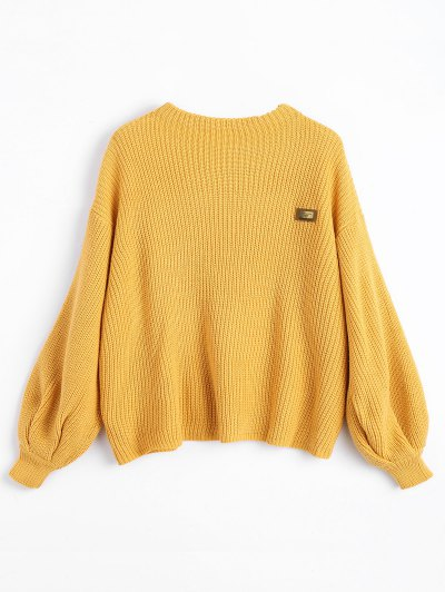 ZAFUL Oversized Badge Patched Pullover Sweater - Yellow