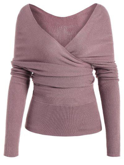 Plunging Neck Surplice Knitted Top - Pinkish Purple S