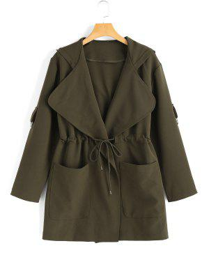 Hooded Belted Coat with Pockets