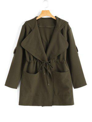 Abrigo con cinturón con capucha y bolsillos