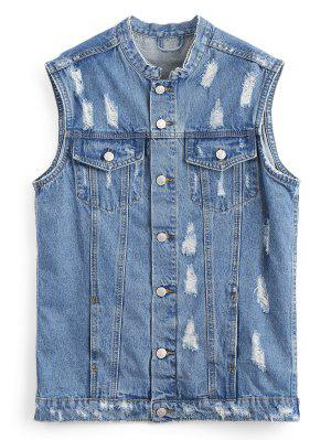 Button Up Distressed Denim Waistcoat
