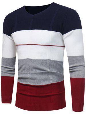 V-Ausschnitt Color Block Jumper