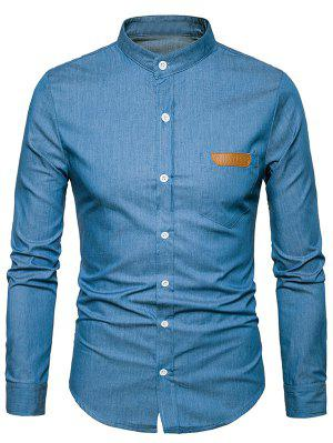 Stand Collar PU Leather Edging Chambray Shirt