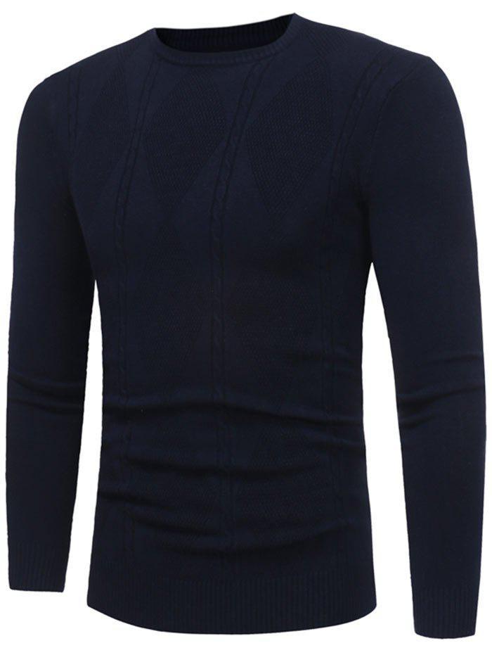 Rhombus Pattern Crew Neck Sweater 229646308