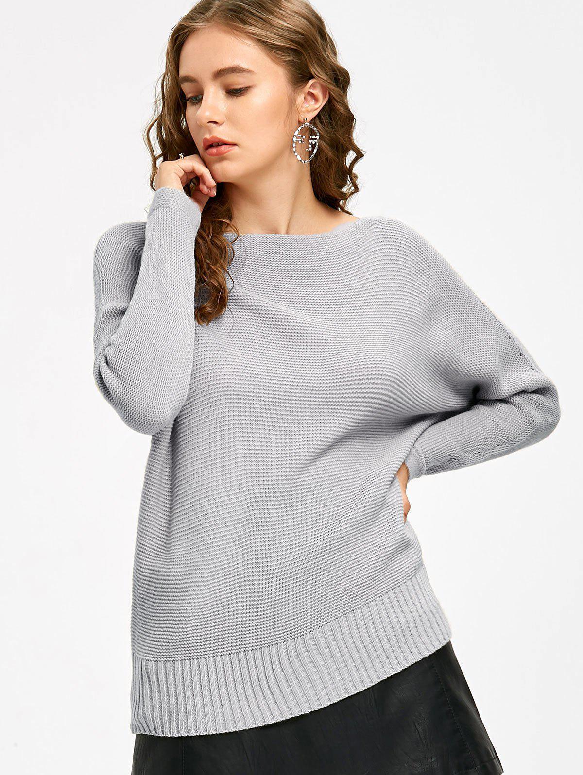 Slash Neck Batwing Sleeve Sweater 229779401
