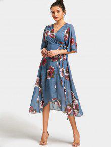 Vestido Asimétrico Con Estampa De Estampado Floral - Floral S