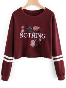 Sweat-shirt à Lettre Et Rose - Rouge Vineux  Xl