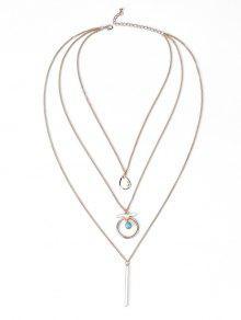 Bar Pendant Three Layered Necklace - Dourado