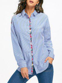 Chemise à Rayures à épaule Bordée à Fleurs - Bleu Clair S