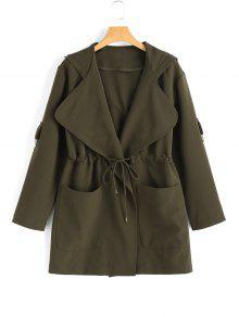 Manteau à Capuche Taille à Corde Avec Poches - Vert Armée M
