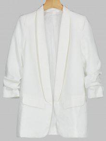 بليزر طية الصدر مطرز  - أبيض L