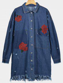Manteau Denim à Fleurs Brodées Déchiré Effiloché - Bleu Foncé S