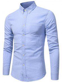 Camisa De La Raya Del Bolsillo Del Pecho Del Botón Abajo - Azul M