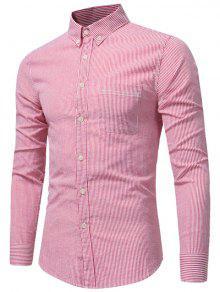 Chemise à Rayures à Poitrine Boutonnée - Pastèque Rouge M