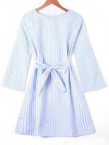 Vestido Listrado De Manga Comprida Com Cinto De Gravata - Listra Azul Xl