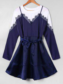 Vestido Largo Del Patinador De La Manga - Azul Xl