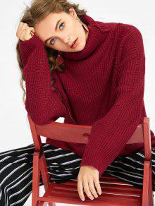 Suéter Grueso De Gran Tamaño Con Cuello De Tortuga - Rojo Oscuro