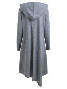 Duffle Button Plus Size Long Hooded Cloak Coat GRAY: Plus Size ...
