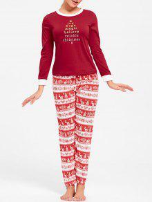 T-shirt à Manches Courtes Avec Pyjama Et Pyjamas - Rouge M