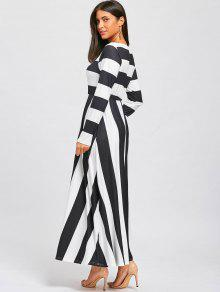 56e7ea4727 36% OFF  2019 Striped Floor Length Long Sleeve Dress In BLACK AND ...
