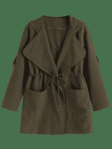 2019 Hooded Belted Coat With Pockets In Army Green S Zaful